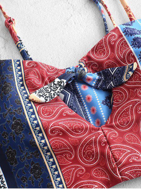 ZAFUL Bohemian Tie Keyhole traje de baño Tankini de cintura alta - Multicolor-A L Mobile