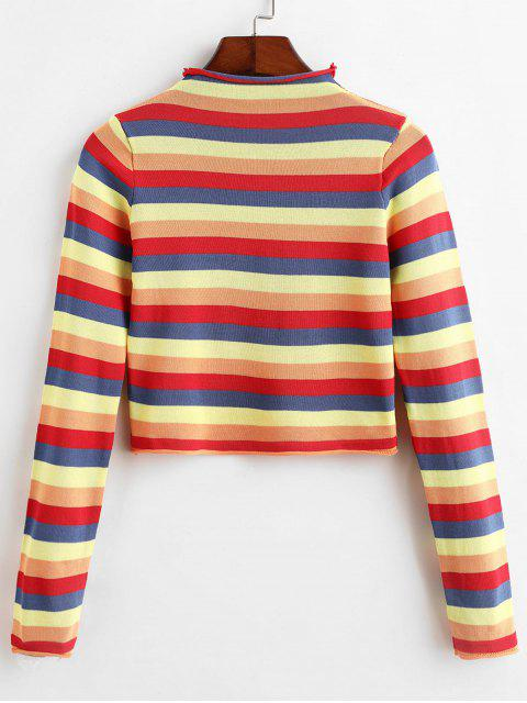 lady Mock Neck Cropped Rainbow Stripes Sweater - MULTI-B ONE SIZE Mobile