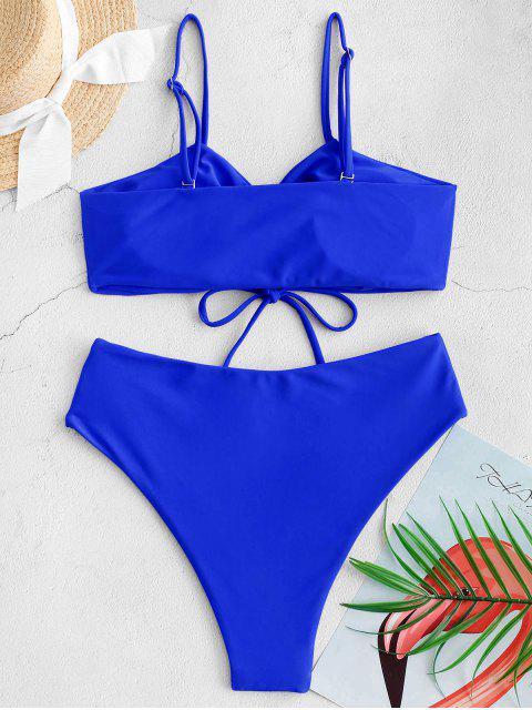 ZAFUL Cinched High Cut Cami Tankini泳衣 - 藍色 2XL Mobile