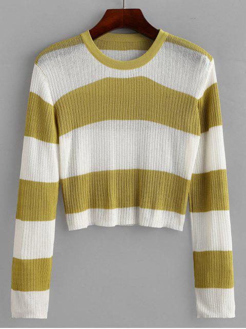 chic Crew Neck Colorblock Stripes Cropped Sweater - MULTI-A ONE SIZE Mobile