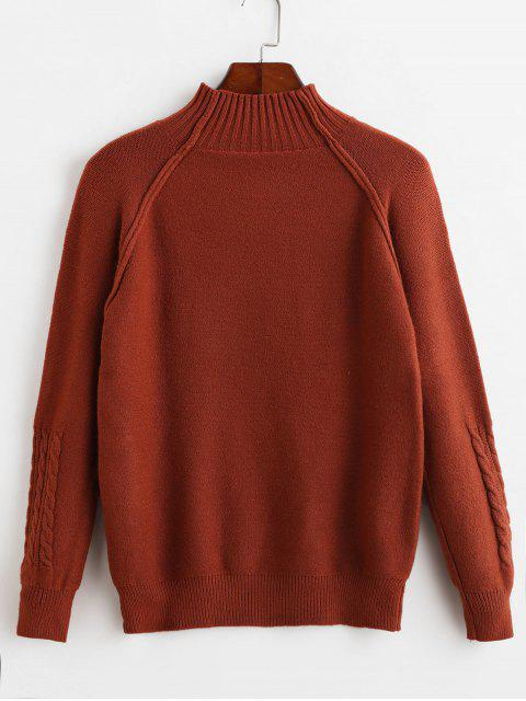 unique Mock Neck Raglan Sleeve Cable Knit Sweater - RUST ONE SIZE Mobile