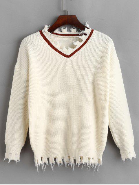プルオーバー擦り切れVネックセーター - 暖かい白 ワンサイズ Mobile