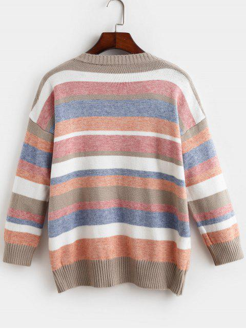 fancy Loose Crew Neck Stripes Pullover Sweater - MULTI-A ONE SIZE Mobile