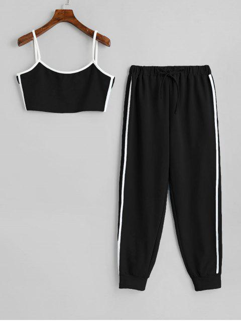 affordable Side Striped Cropped Top And High Waist Pants - BLACK S Mobile