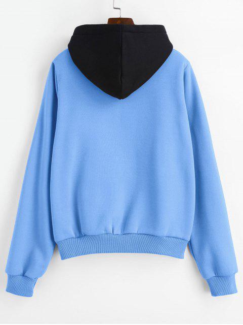 ZAFUL جيب الحقيبة الصوف البلوز هوديي - الحرير الأزرق S Mobile