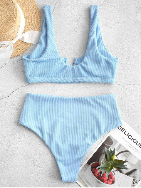 shops ZAFUL Ribbed V Wired High Waisted Bikini Swimsuit - SEA BLUE L Mobile