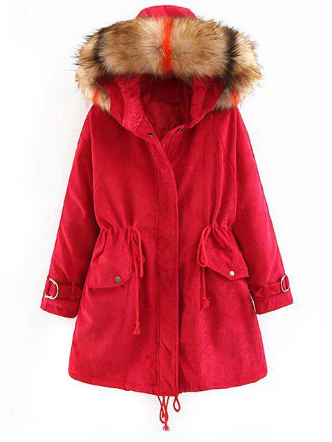 sale Corduroy Hooded Padded Raglan Sleeve Coat - LAVA RED L Mobile