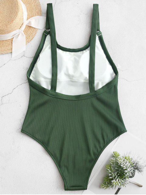 womens ZAFUL Textured Ribbed One-piece Swimsuit - MEDIUM SEA GREEN L Mobile