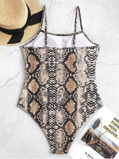 chic ZAFUL Snake Print One-piece Swimsuit - ORANGE GOLD L Mobile
