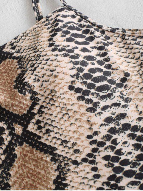 fancy ZAFUL Snake Print One-piece Swimsuit - ORANGE GOLD M Mobile