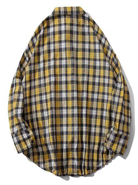 A cuadros bolsillo en el pecho Alto Bajo gota hombro del botón camisa - Amarillo L Mobile