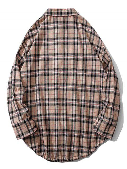 fashion Plaid Chest Pocket High Low Drop Shoulder Button Shirt - LIGHT PINK M Mobile