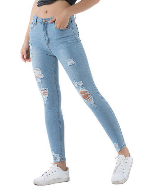 Calças Jeans deLavagem Leve Angustiada Magro - Azul Denim L Mobile