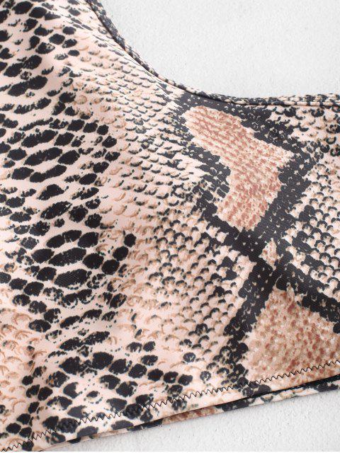 Piel de serpiente ZAFUL Halter Tankini del traje de baño de alta Pierna - Madera S Mobile