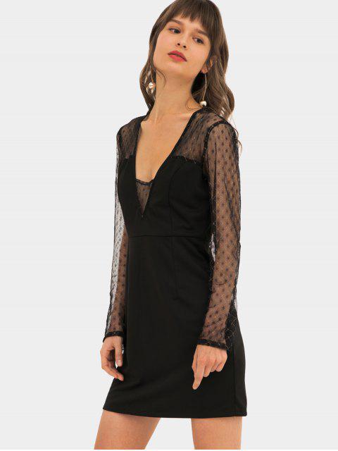 Spitze Einsatz Metallisches Faden Bodycon Kleid - Schwarz 2XL Mobile