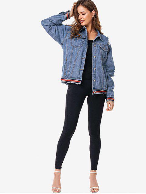 Rayas recorte rasgado de la chaqueta de Jean - Azul Denim S Mobile