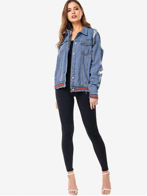 outfits Striped Trim Ripped Jean Jacket - DENIM BLUE XL Mobile