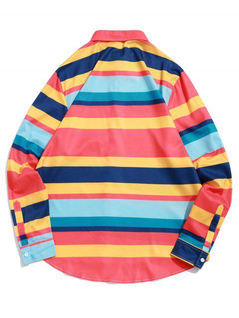 Farbblock Streifen Gespleißter Hohes Niedriges Knopf Hemd - Multi-A S Mobile