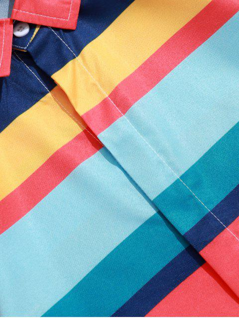 Camisa de Bloque de Color a Rayas de Bloque con Botón - Multicolor-A L Mobile