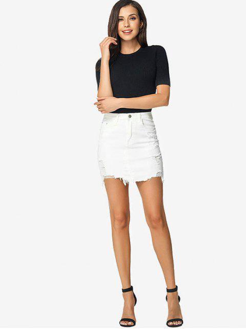 unique Ripped Bodycon Denim Skirt - WHITE S Mobile