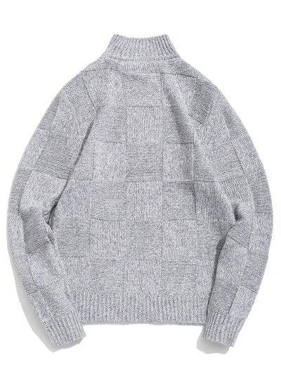 Checked Pattern High Neck Pullover Sweater, Light gray