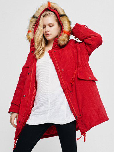 Corduroy Hooded Padded Raglan Sleeve Coat - Lava Red Xl