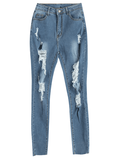 Frayed Hem Distressed Skinny Jeans, Jeans blue