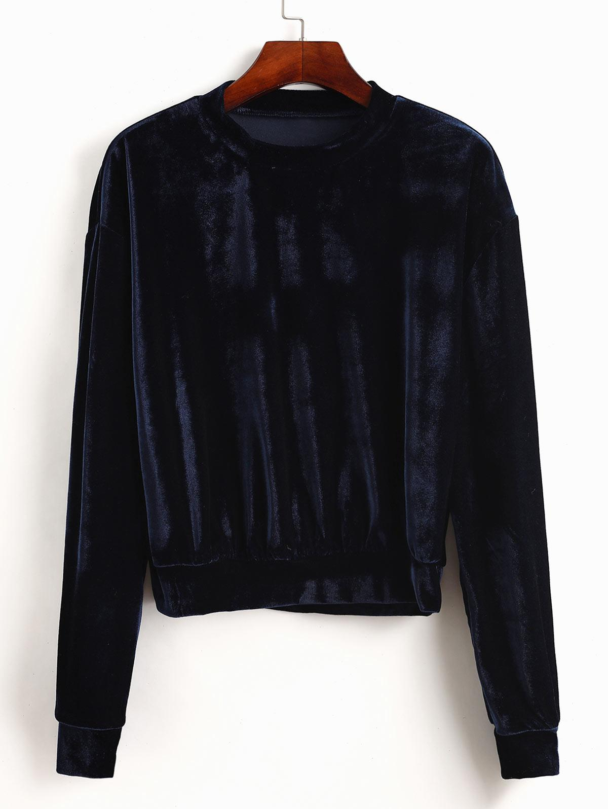 ZAFUL Stretchy Pullover Velvet Sweatshirt