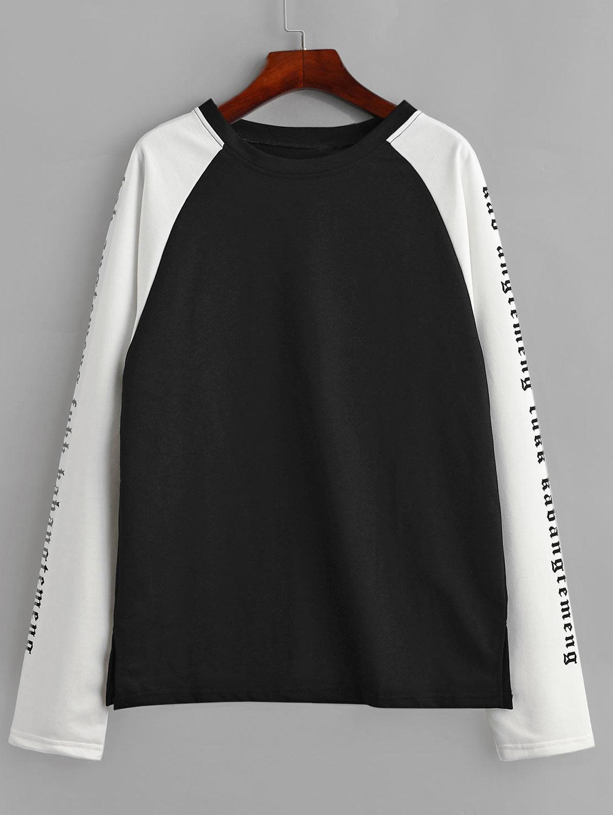 Raglan Sleeve Colorblock Slogan Graphic Sweatshirt