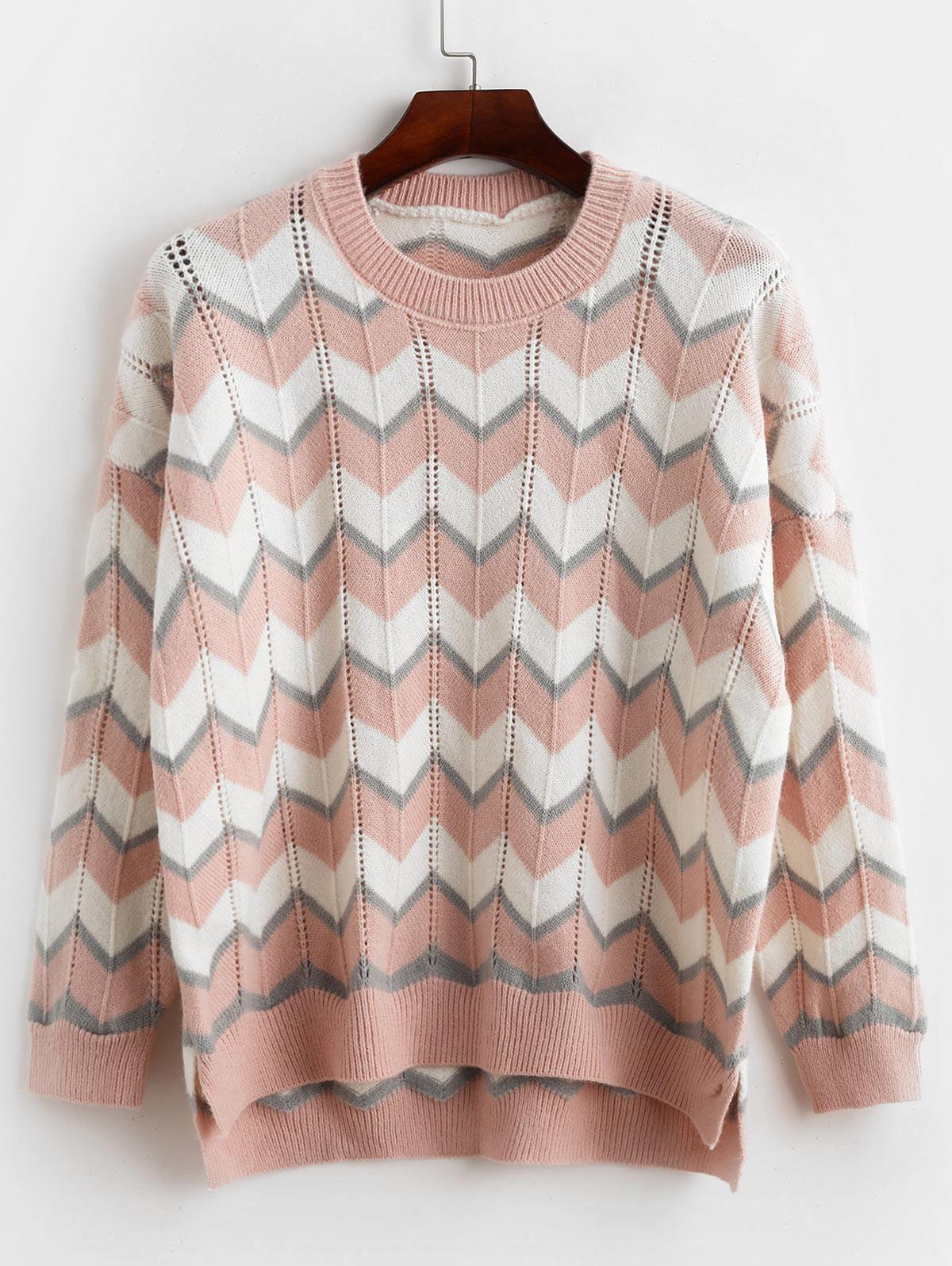 High Low Slit Zig Zag Pointelle Knit Sweater