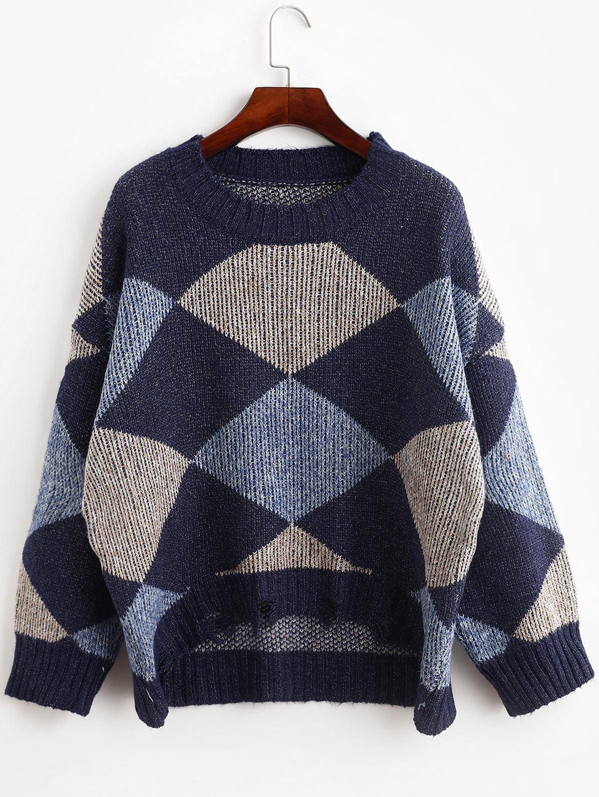 Drop Shoulder Frayed Geometric Graphic Sweater