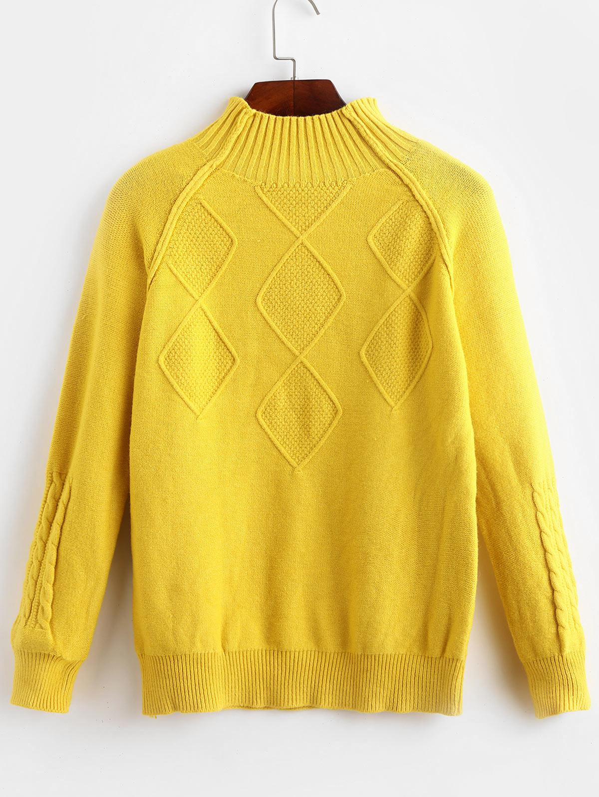 Mock Neck Raglan Sleeve Cable Knit Sweater