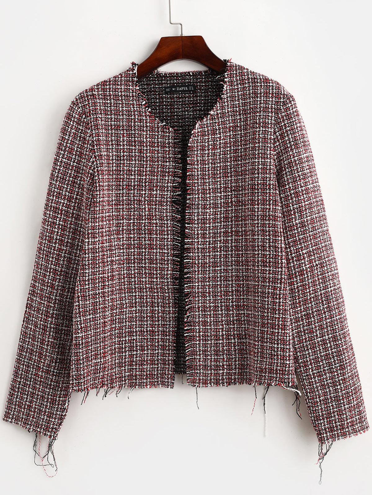 zaful Frayed Hem Open Front Plaid Jacket