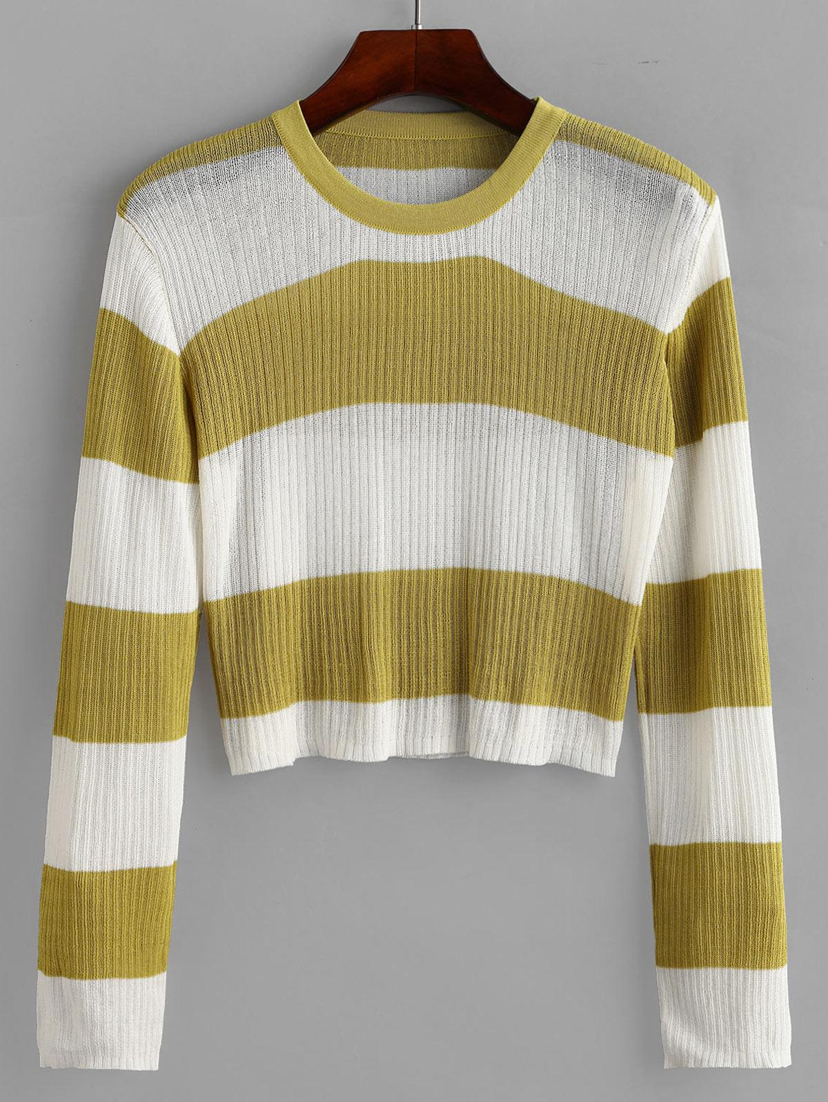Crew Neck Colorblock Stripes Cropped Sweater