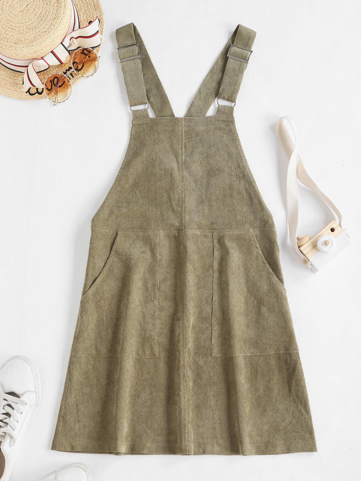 ZAFUL Double Pocket Buckle Strap Corduroy Pinafore Dress, Camouflage green