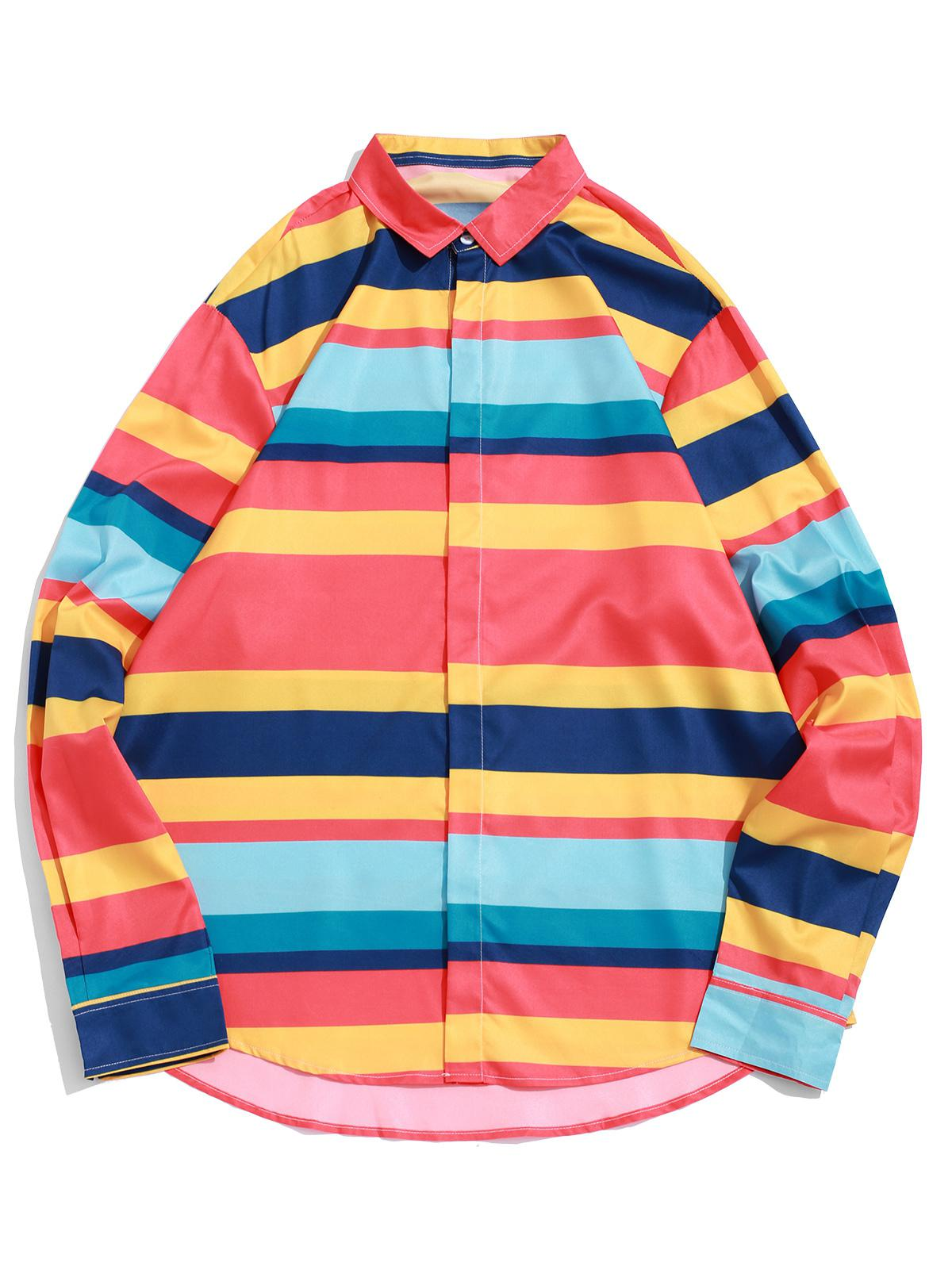 Color-blocking Stripes Splicing High Low Button Shirt фото