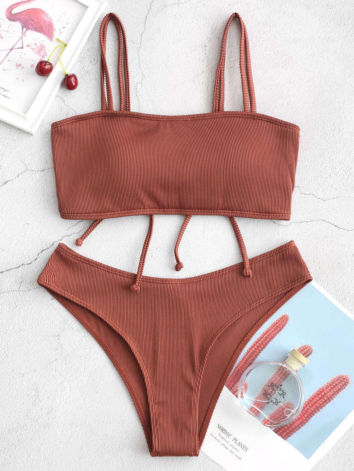 ZAFUL Cinched Textured Ribbed Bikini Swimsuit фото