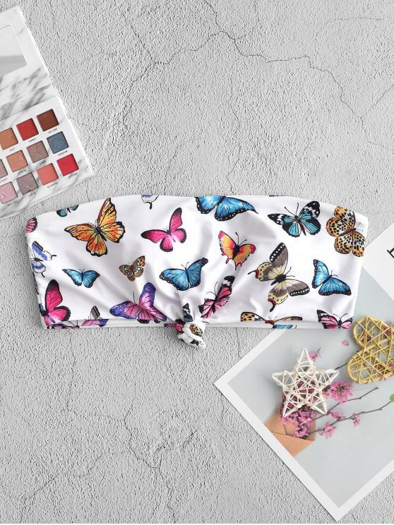 buy ZAFUL Butterfly Print Knotted Bandeau Bikini Top - MULTI-A L