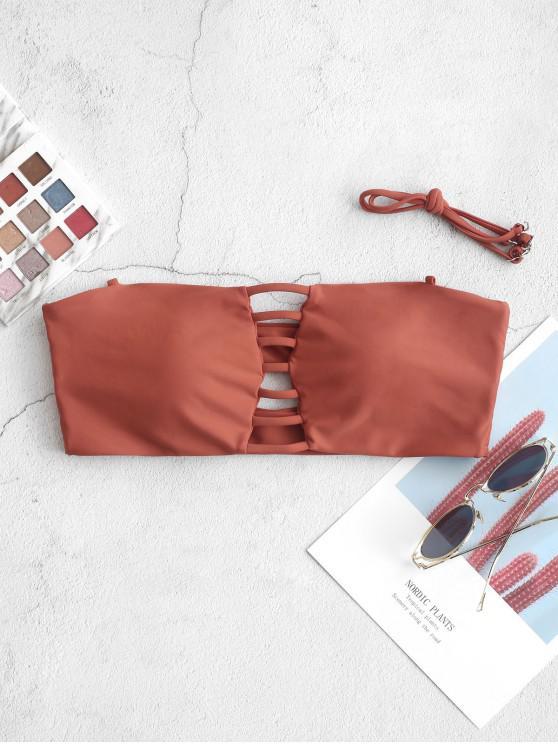 women's ZAFUL Ladder Cutout Bandeau Bikini Top - CHESTNUT RED S