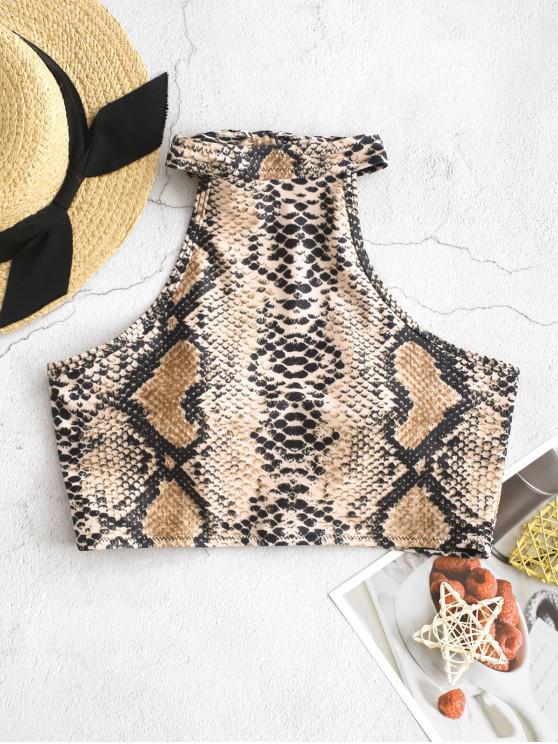 shops ZAFUL Halter Snakeskin Cropped Bikini Top - MULTI-A M