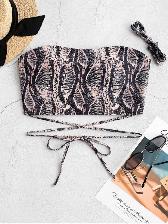 trendy ZAFUL Snakeskin Wrap-tie Bandeau Bikini Top - MULTI-A XL
