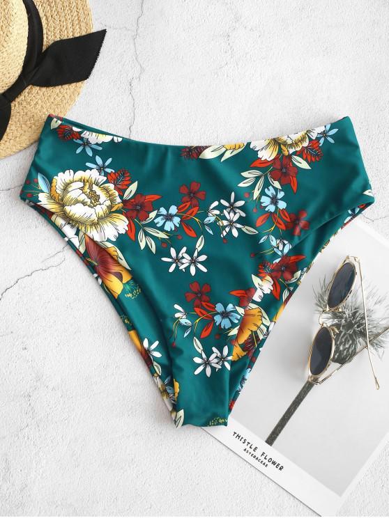 fancy ZAFUL Floral High Waisted Bikini Bottom - MEDIUM SEA GREEN M
