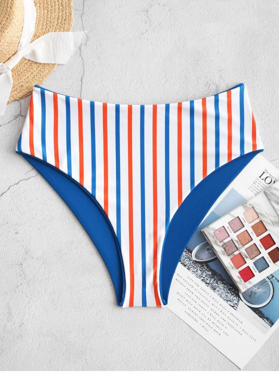 shop ZAFUL Colorful Striped Reversible Bikini Bottom - OCEAN BLUE S
