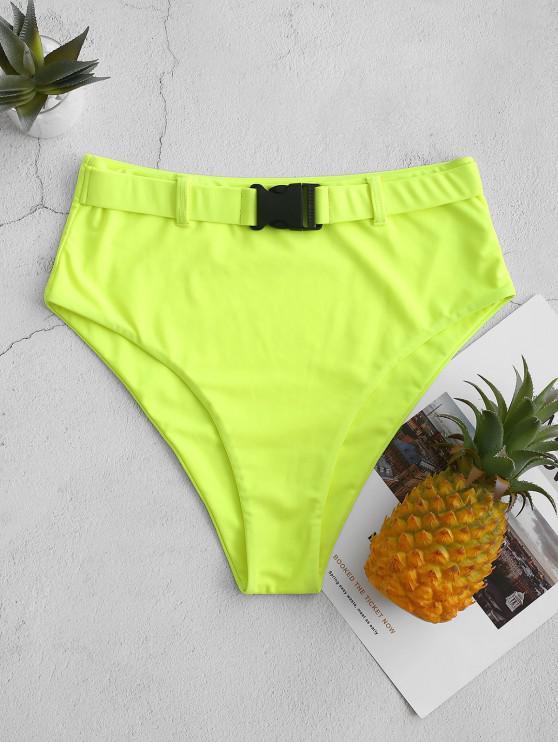fancy ZAFUL Neon Push Buckle High Waisted Swim Bottom - GREEN YELLOW L