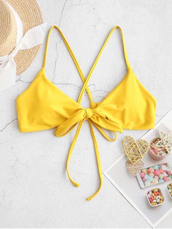 ladies ZAFUL Tie Criss Cross Padded Bikini Top - BRIGHT YELLOW S