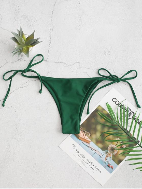online ZAFUL Tie Side Low Waisted Bikini Bottom - MEDIUM FOREST GREEN L