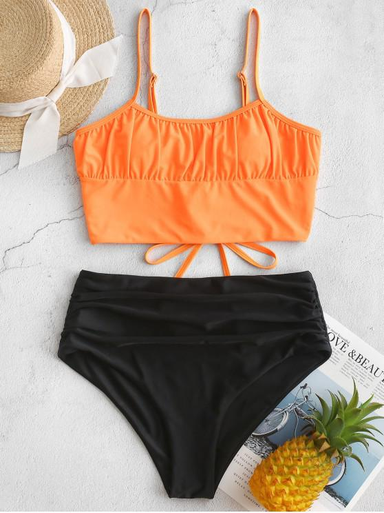womens ZAFUL Ruched Lace-up Neon Tankini Swimsuit - BLACK S