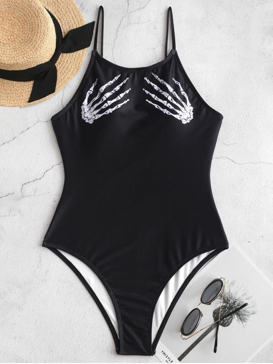 chic ZAFUL Halloween Skeleton Hand One-piece Backless Swimsuit - BLACK L