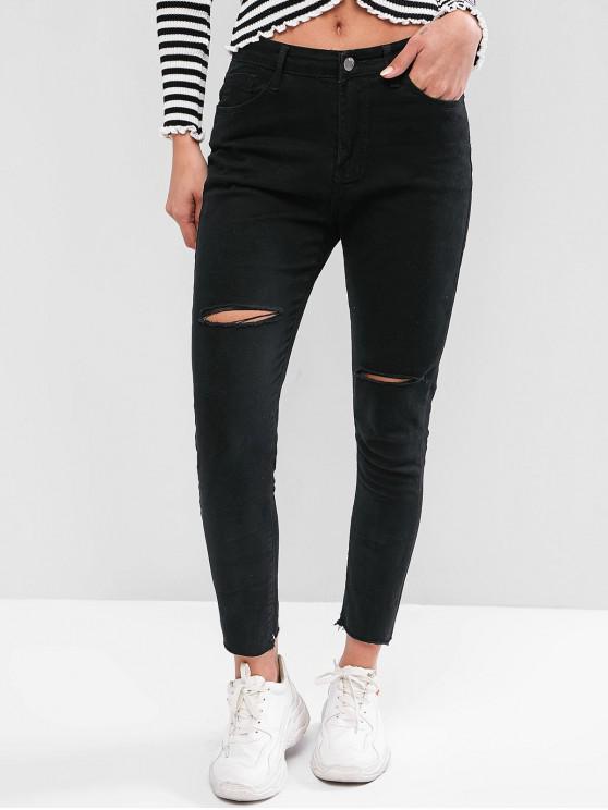 sale Raw Hem Skinny Distressed Jeans - BLACK L