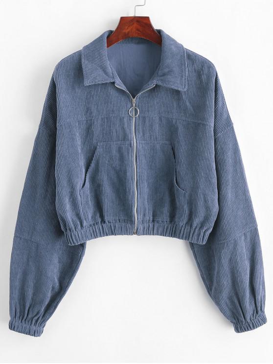 womens ZAFUL Corduroy Pocket Pull Ring Drop Shoulder Jacket - SLATE BLUE S